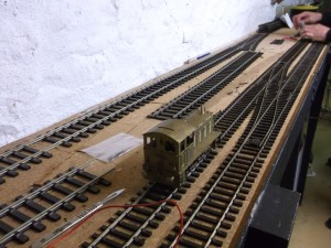 A view of the Nailsea and District Model Railway Club's G Scale and O Gauge Test Track under construction in July 2014
