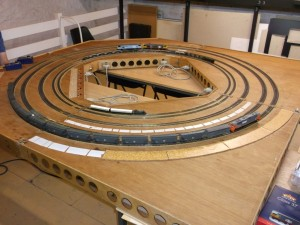 A picture showing the Nailsea and District Model Railway Club's N and OO Gauge Test Track in use in July 2014