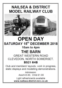 Nailsea and District Model Railway Club Annual Exhibition 2018 - Saturday 15th December 2018 at The Barn, Great Western Road, Clevedon, North Somerset, BS21 6HB